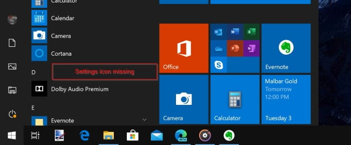 settings missing from the Start menu Windows 10 pic02