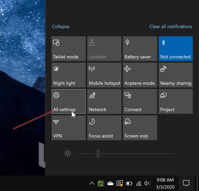 settings missing from the Start menu Windows 10 pic1