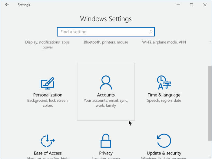 show hide email address on Windows 10 login screen step2