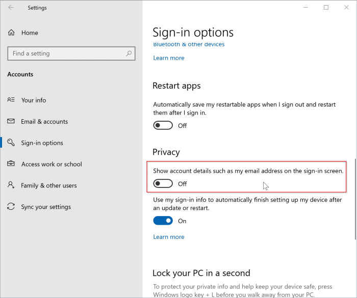 show or hide email address on the sign in screen in Windows 10