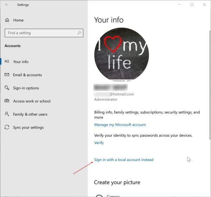 sign out of Microsoft account in Windows 10 pic1