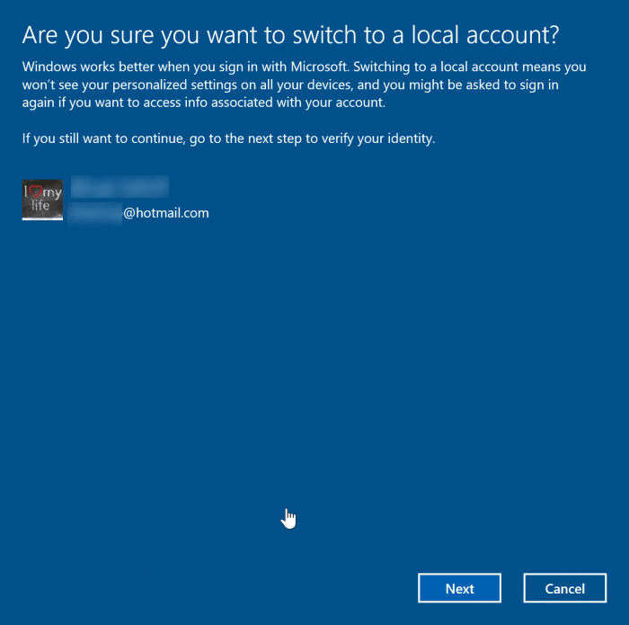 sign out of Microsoft account in Windows 10 pic2
