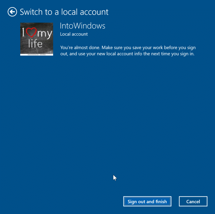 sign out of Microsoft account in Windows 10 pic6