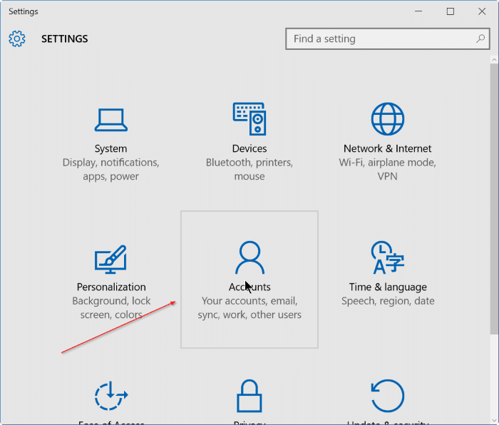 sign out of Microsoft account in Windows 10 step2