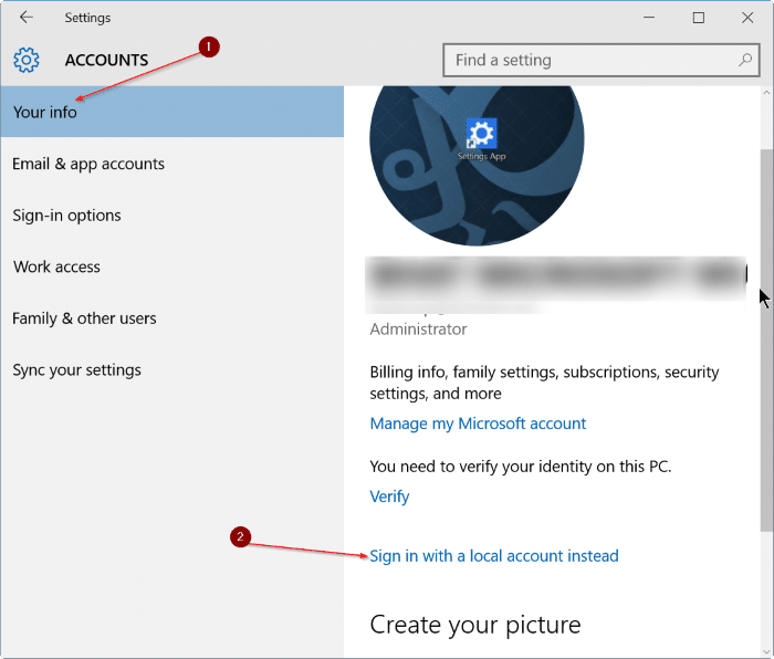 sign out of Microsoft account in Windows 10 step3