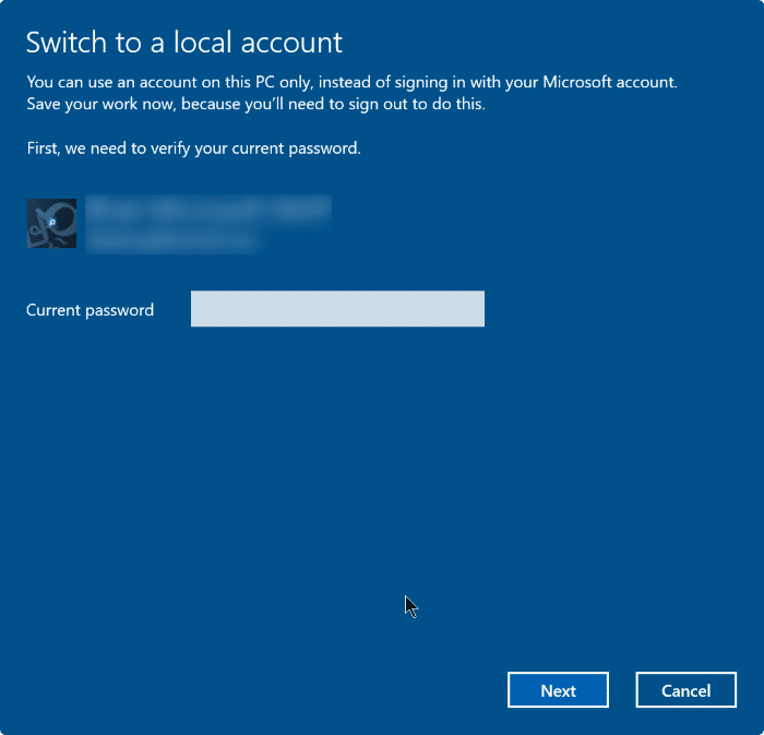 sign out of Microsoft account in Windows 10 step4