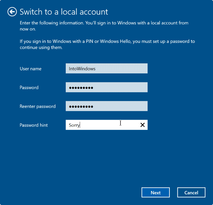 sign out of Microsoft account in Windows 10 step5