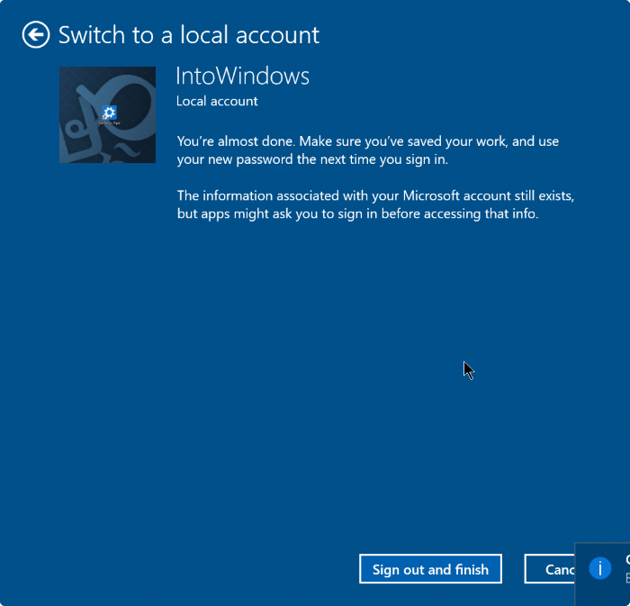 sign out of Microsoft account in Windows 10 step6