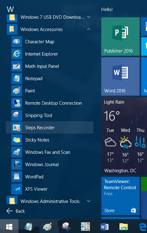 accessories folder missing from start menu in windows 10