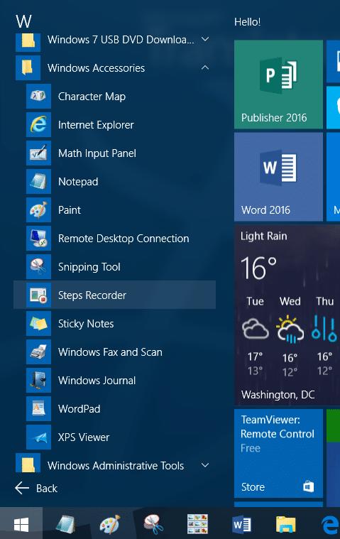 Accessories folder missing in Windows 10 step2