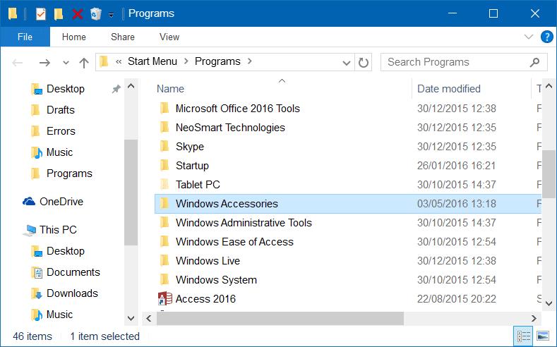 Accessories folder missing in Windows 10 step3