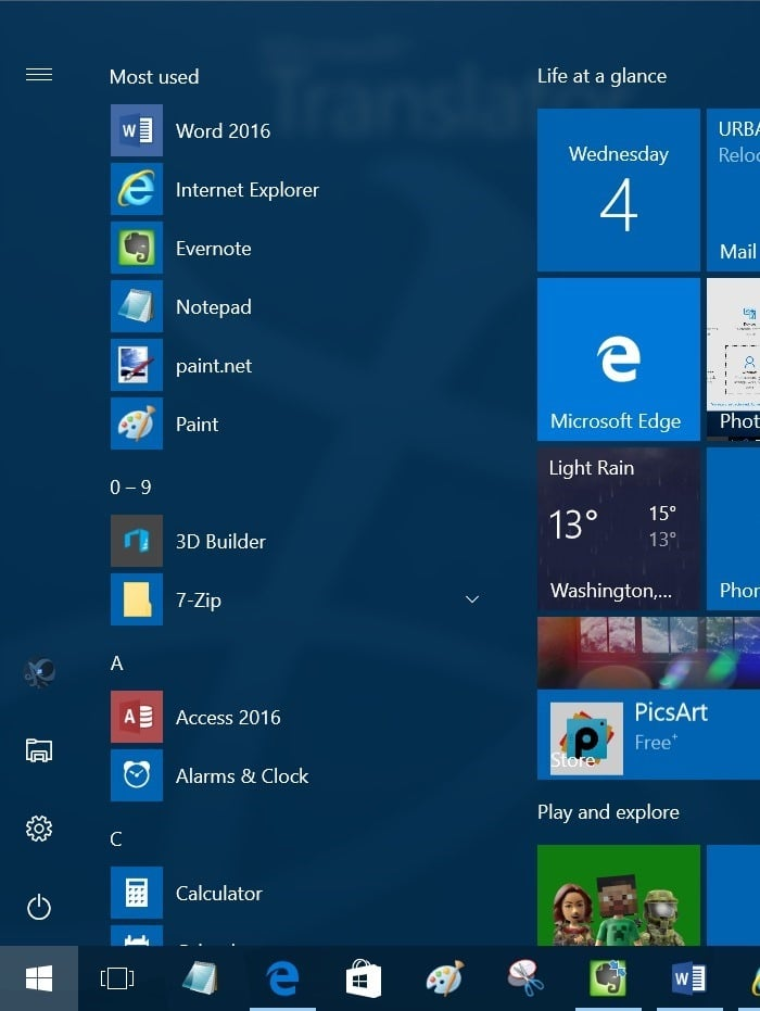 All apps button missing from Start menu