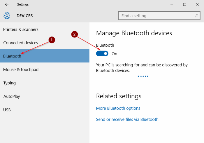 Bluetooth icon missing from Windows 10 system tray step3