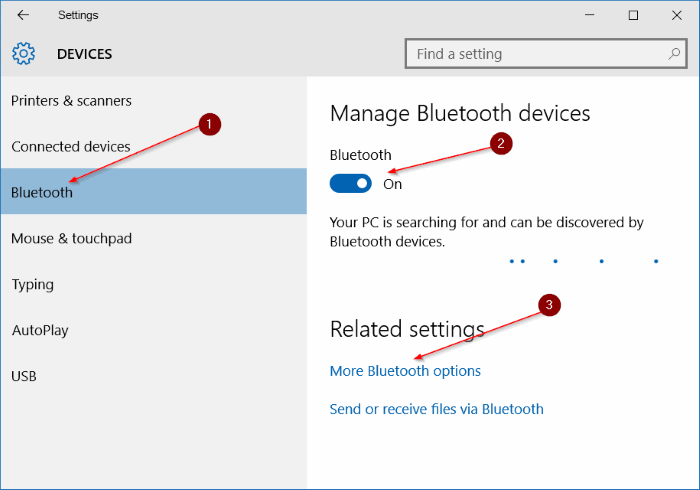 Bluetooth icon missing from Windows 10 system tray step4