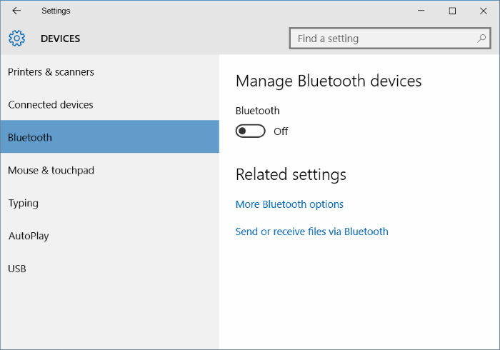 Bluetooth missing from Settings in Windows 10 image1