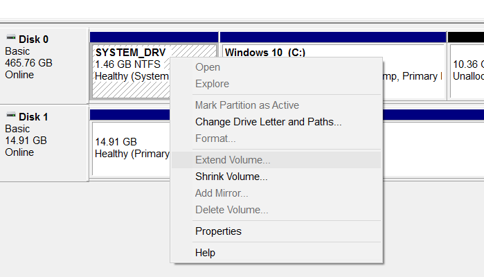 Extend volume grayed out in Windows 10 pic1