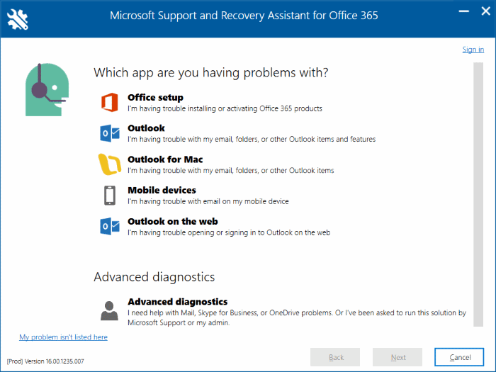 Office 365 troubleshooting tool from Microsoft pic2