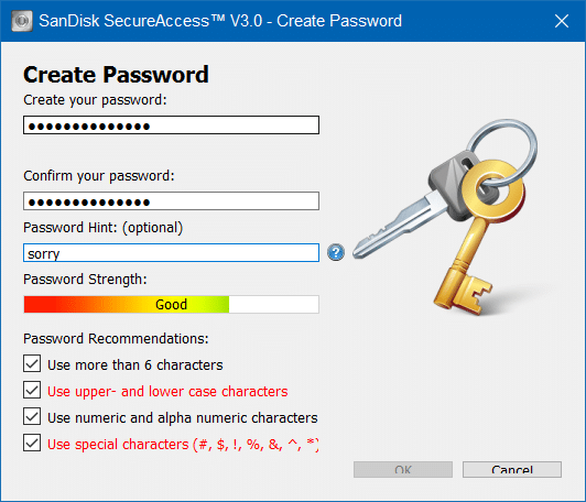 Password Protect SanDisk USB drive in Windows step7