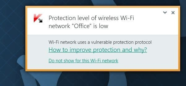 Protection level of wireless Wi-Fi network is low error