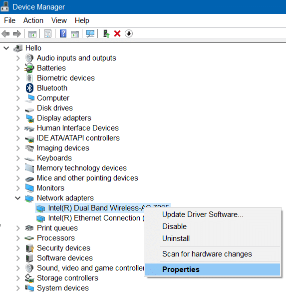 Wi fi not connecting after sleep mode in Windows 10 step2.1