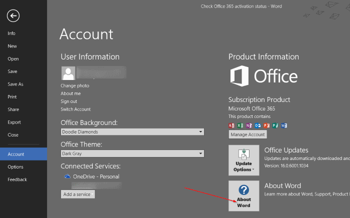 check office 365 or office 2016 activation status step (8)