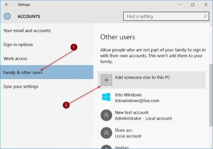 create local user account in Windows 10 step3