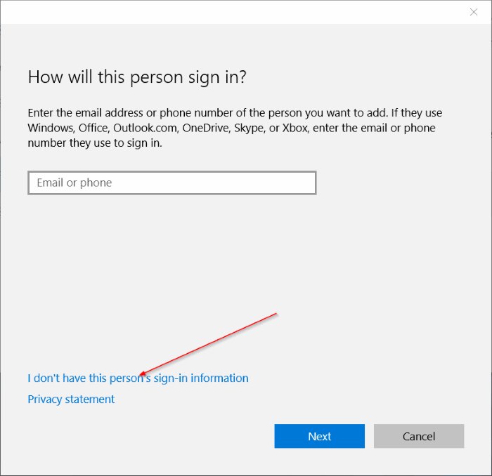 create local user account in Windows 10 step4