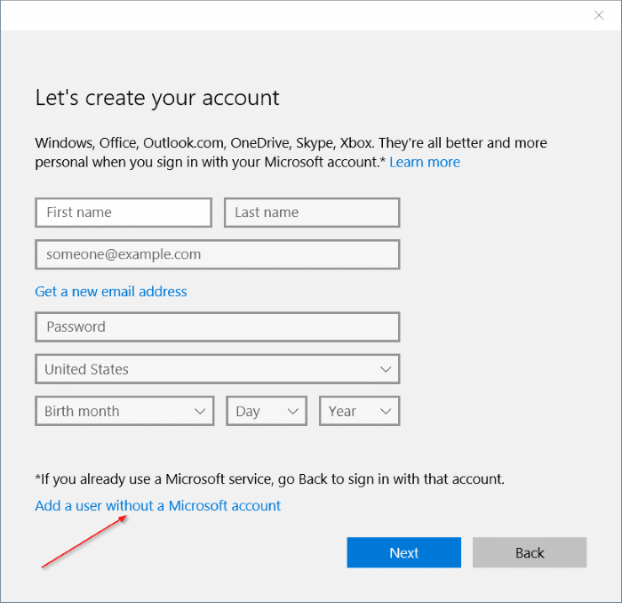 create local user account in Windows 10 step5