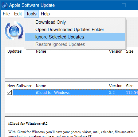 Disable Apple Software Update Alert In Windows 10