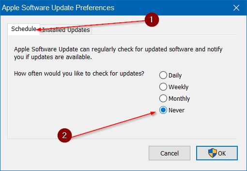Disable Apple Software Update Alert In Windows 10