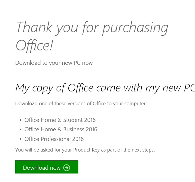 download office 2016 using product key pic4