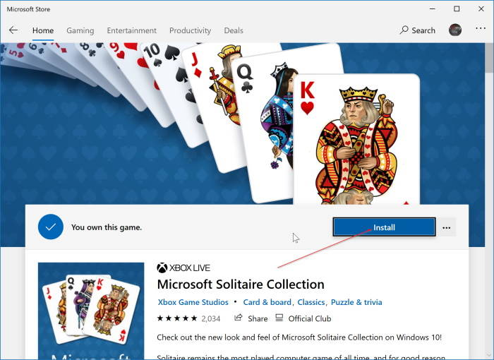 Reinstall Microsoft Solitaire Collection In Windows 10