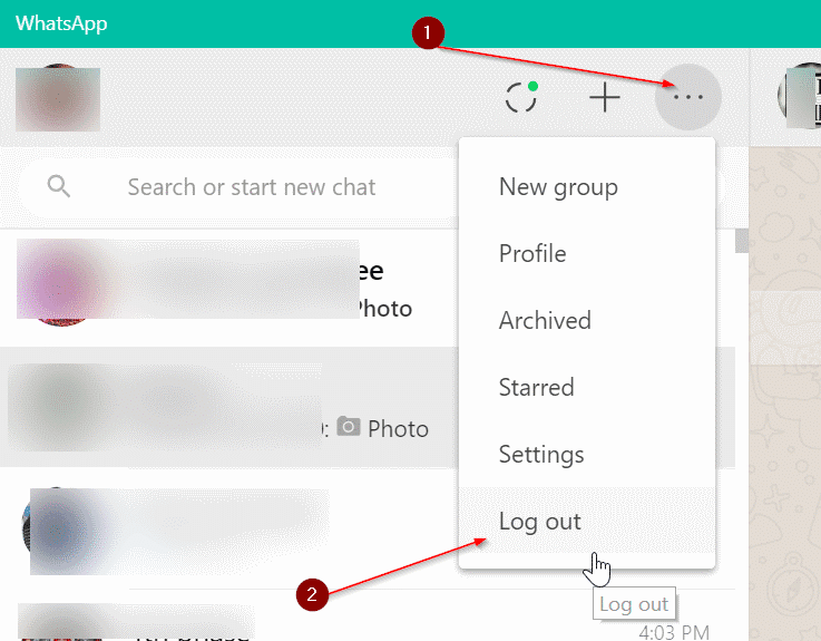sign out of whatsapp desktop in Windows 10