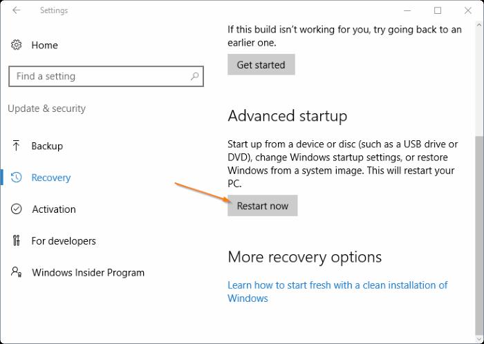 Access UEFI settings in Windows 10 step4