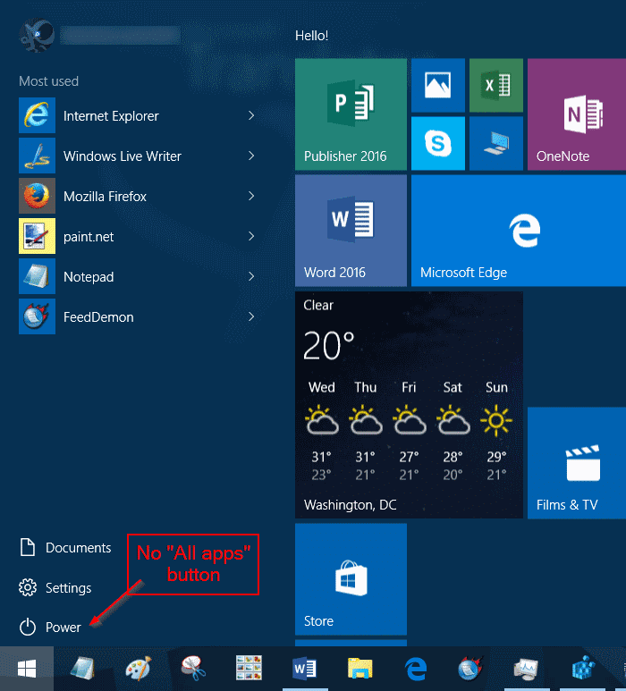 add or remove  u0026quot all apps u0026quot  button from windows 10 start menu
