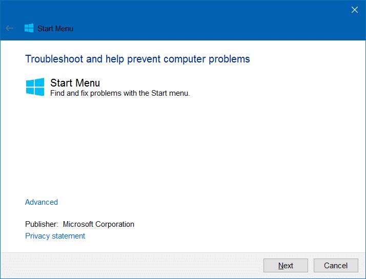 Blank start menu tiles Windows 10