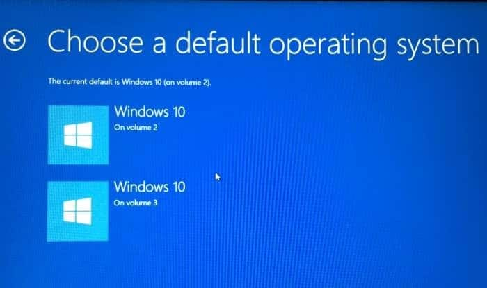 how to set default operating system on startup