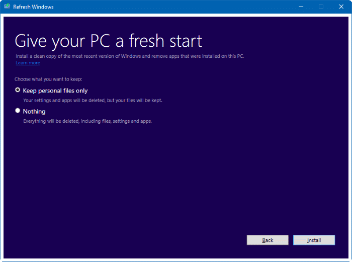 Refresh Windows tool for Windows 10 pic1