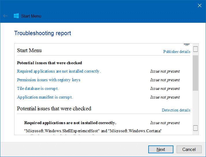 Start Menu Repair Tool For Windows 10