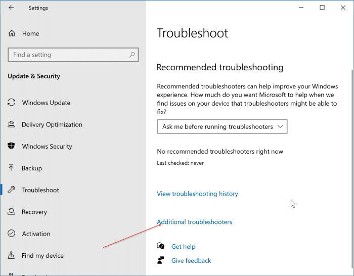 Windows 10 update troubleshooter pic1