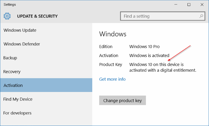 backup Windows 10 activation
