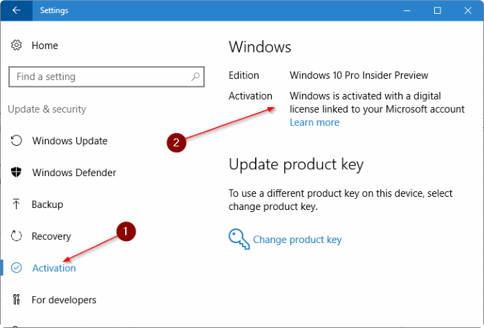 link Windows 10 license to microsoft account