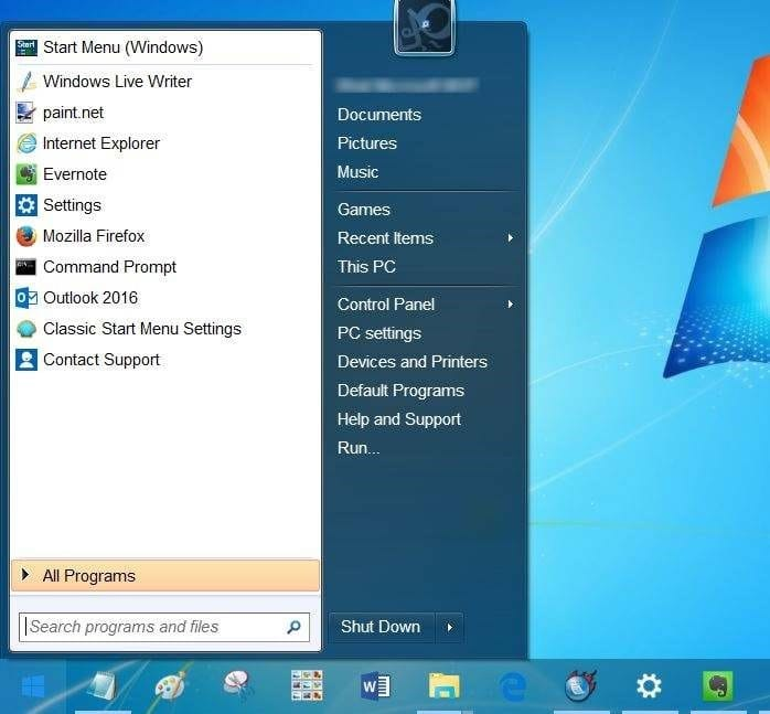 how to get back original start menu in windows 10