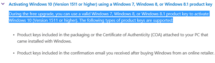 you can't activate Windows 10 after july 29 2016 using windows 7 8 product key