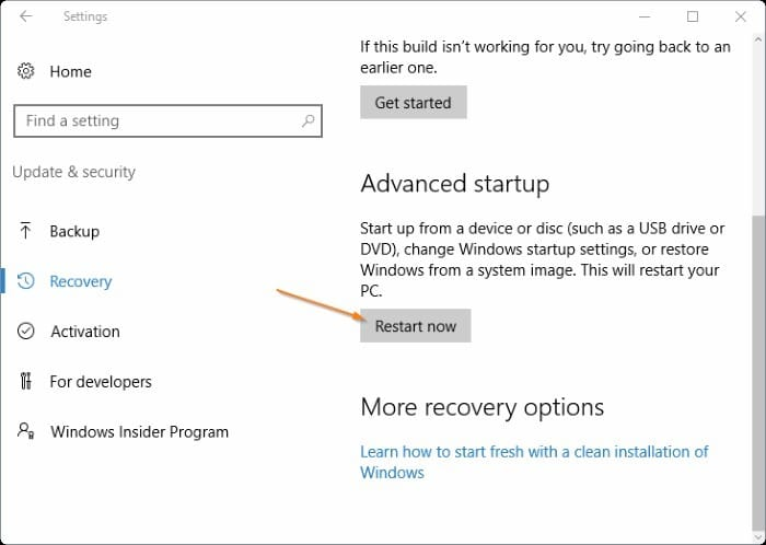 4 ways to open advanced startup options Windows 10 pic4