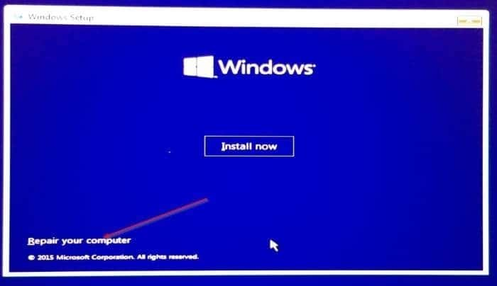 Boot Windows 10 in safe mode when not booting step2
