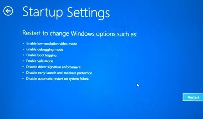 Boot Windows 10 in safe mode when not booting step6