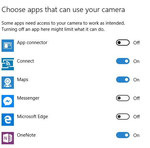 change app permissions in Windows 10 pic1