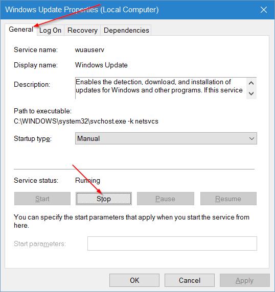 clear windows update cache in windows 10 step3