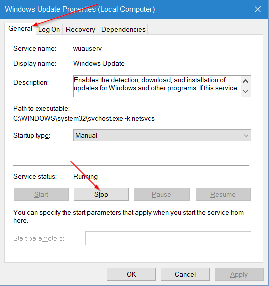 clear Windows Update cache in Windows 10 step3